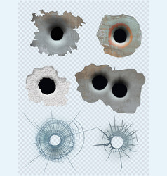 bullet circle hole crashed guns marks vector image
