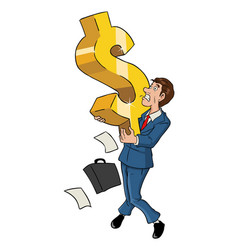 businessman and dollar symbol vector image vector image