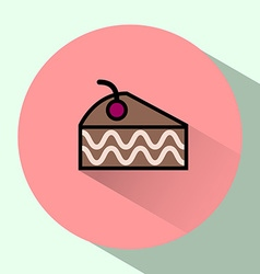 Cake Slice with Cherry on top colorful icon vector image