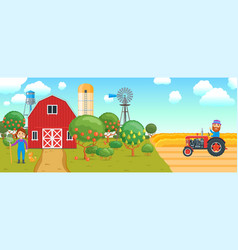 cartoon banner on agricultural theme vector image