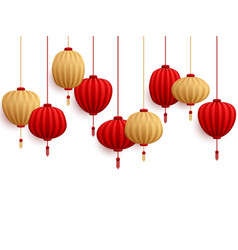 Chinese new year decorative paper lanterns vector