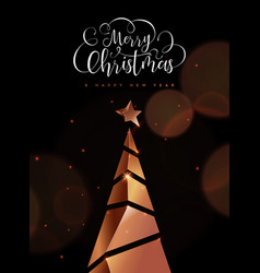 christmas and new year card copper 3d pine tree vector image