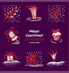 christmas hand drawn sketch icons on dark purple vector image