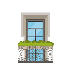 Classical balcony with wrought iron railing and vector