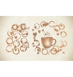 Coffee paint cup splashes and harts vector image