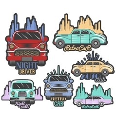 colorful set of retro car club logos vector image