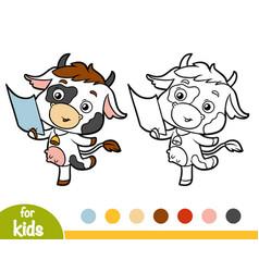 Coloring book cow vector