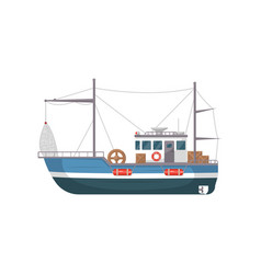 Commercial fishing ship side view icon vector