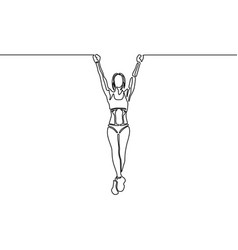continuous line woman with fit body hanging on the vector image