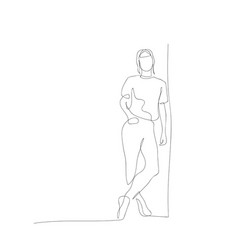 Continuous one line woman lean against wall vector