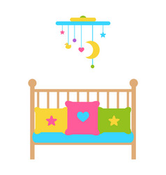 Crib young child bed with barred or latticed sides vector