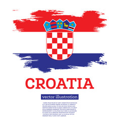 Croatia flag with brush strokes independence day vector