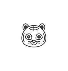 cute cartoon face of tiger outline icon vector image