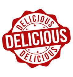 delicious sign or stamp vector image