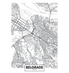 detailed poster city map belgrade vector image