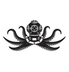 Diver helmet with octopus tentacles design vector