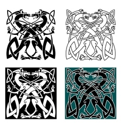 Dragons celtic knot vintage pattern vector