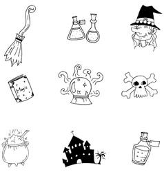 Element Halloween witch castle doodle vector