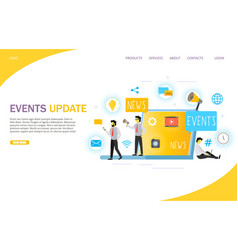 Events update landing page website template vector