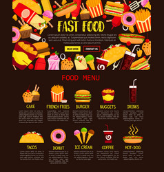 Fast food menu web banner of lunch meal and drink vector