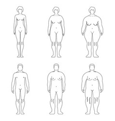 fat european man outline style human front side vector image vector image