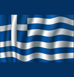 flag of greece 3d greek blue white banner vector image