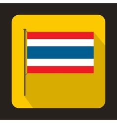 Flag of Thailand with flag pole icon flat style vector image