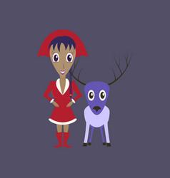Flat on background of christmas girl deer vector