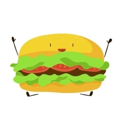 Funny fast food hamburger icon vector image