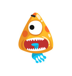 Funny one eyed toothy monster fabulous creature vector