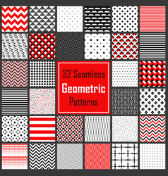 Geometric black white red patterns set vector