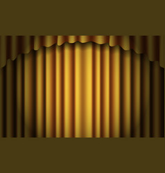 gold stage curtain realistic closed silky vector image