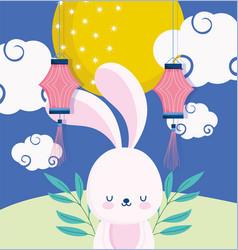 happy mid autumn festival bunny lanterns moon vector image
