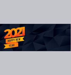 Happy new year 2021 attractive polygonal banner vector