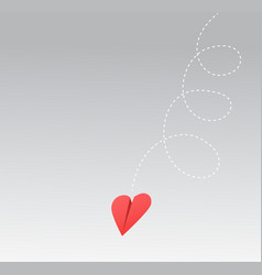 Heart shaped paper airplane falling vector