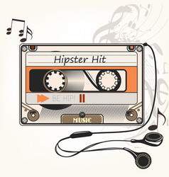Hipster music background with old cassette vector