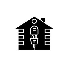 house electrical system black icon sign on vector image