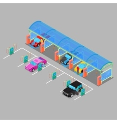 Isometric Car Wash with Vacuum Cleaners vector