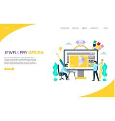 Jewellery design website landing page vector