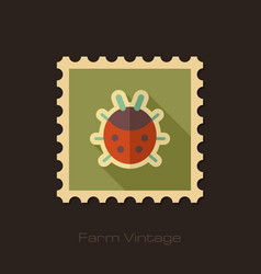 Ladybug retro flat stamp with long shadow vector