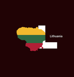 Lithuania initial letter country with map and vector