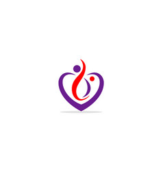 love heart valentine beauty logo vector image