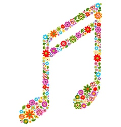musical note with flowers vector image
