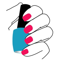 Nail polish in hand vector