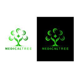 natural hand leaf tree medical logo vector image
