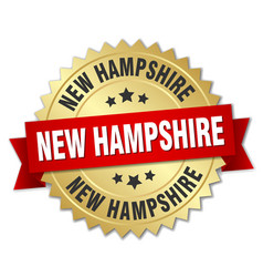 New hampshire round golden badge with red ribbon vector