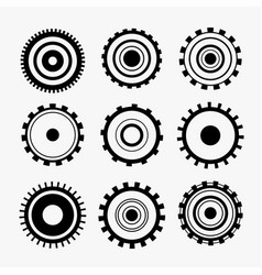 Nine gears symbol icons set vector