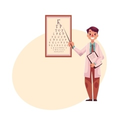 Optometrist doctor pointing to a letter on eye vector image