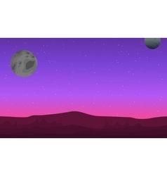 Outer space landscape with mountain silhouettes vector