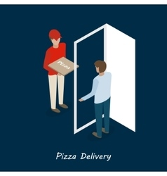 pizza delivery isometric vector image